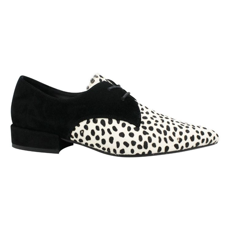 Picture of Egos White & Black Dot Pony/ Black Suede